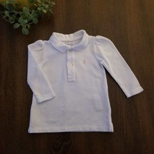 Ralph Lauren White Long Sleeved Baby Girl Top